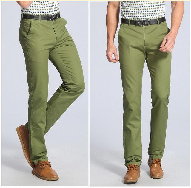 28-40! envío gratis en la primavera de 2015 los nuevos hombres de negocios moda de algodón recto de gama alta pantalones ocasionales de hombre