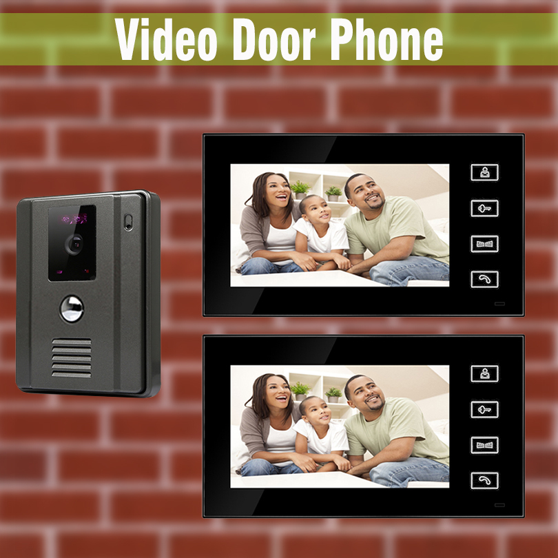 7 Inch LCD Touch Button Monitors Video Intercom Door Phone Wired Video Doorbell Intercom interphone night vision Camera 2 Screen 7 inch video doorbell tft lcd hd screen wired video doorphone for villa one monitor with one metal outdoor unit night vision
