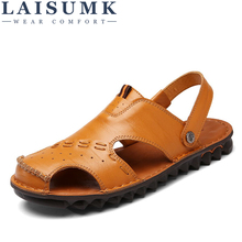 LAISUMK Mens Sandals Outdoor Casual Beach Shoes Genuine Leather Breathable Flat Fashion Sandalias hombre Slipper