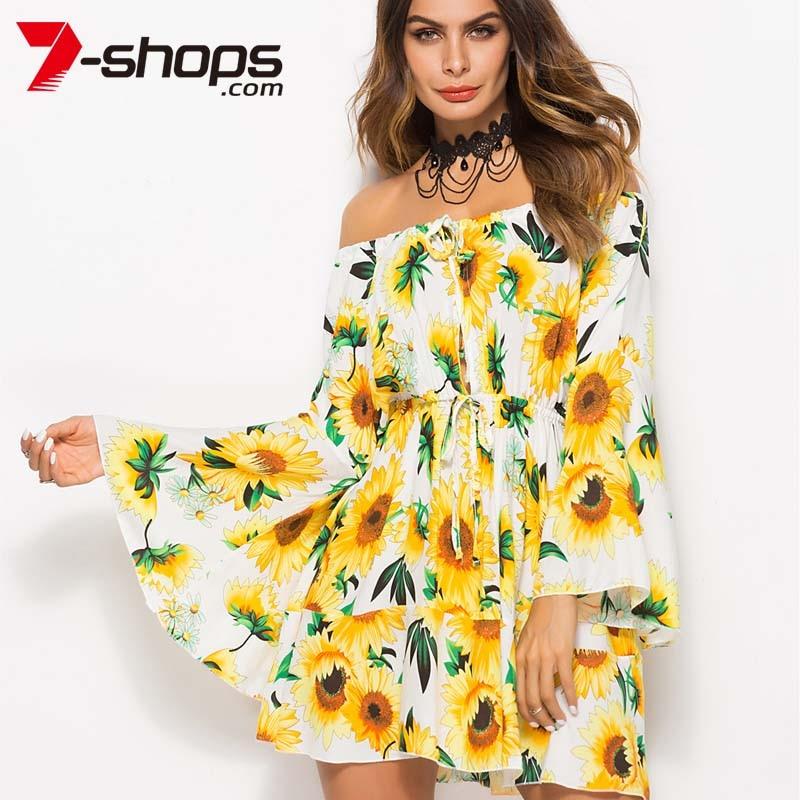 7472713a475 7-Shops Sunflower Summer Dress Women Boho Tunic Short Beach Dresses Off  Shoulder Long Flare Sleeve Dress Lace Up Female Dresses