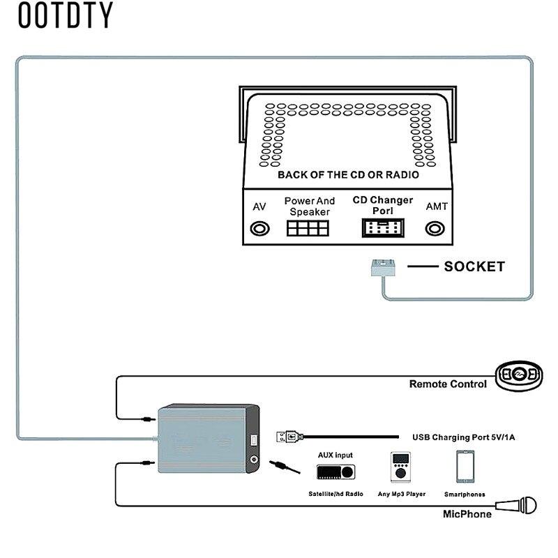 OOTDTY nouveau Hot 1 Set mains libres Auto voiture Bluetooth Kits musique MP3 AUX adaptateur Interface USB charge pour Toyota Lexus 5 + 7Pin - 6