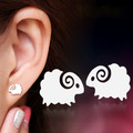 Fashion Earring For Women Quality Frosted Silver Plated Stud Earring Sheep Design Girl Cute Ear Jewelry Wholesale
