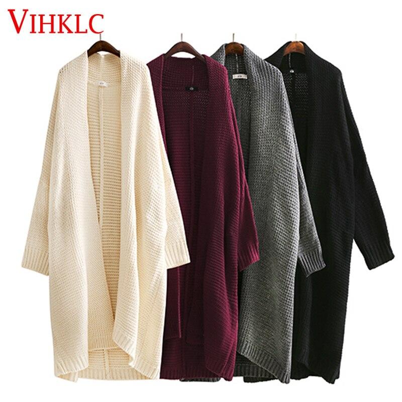 2018 New Fashion Lange Weibliche Pullover Für Frauen Lose Große Größe Stricken Herbst Strickjacke Pullover Kleidung H986