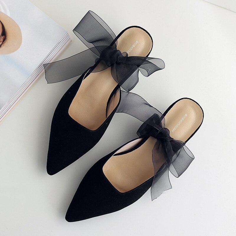 Pointu Confortable Haute Sandales Mujer Femme Noir Mules Talons Noir Diapositives Beige Pantoufles 2018 kaki Bout Mocassins Ruban Zapatos Femmes Chaussures xwPwzX1qf
