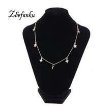 Choker Necklaces for Women Small Simple Metal Stars Moon Pendant Fashion Jewlery Necklace