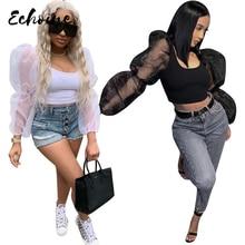 Echoine Women Sexy O Neck Mesh Lantern Ruffle Long Sleeve T Shirts Black/White Splicing Short Tee Top Casual Nightclub Outfits