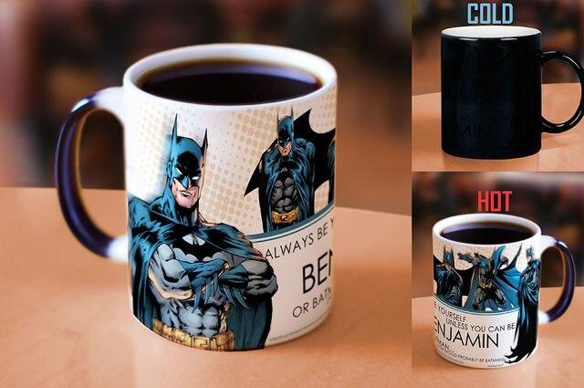 personalized name batman mugs wonder women heat reveal magic mug