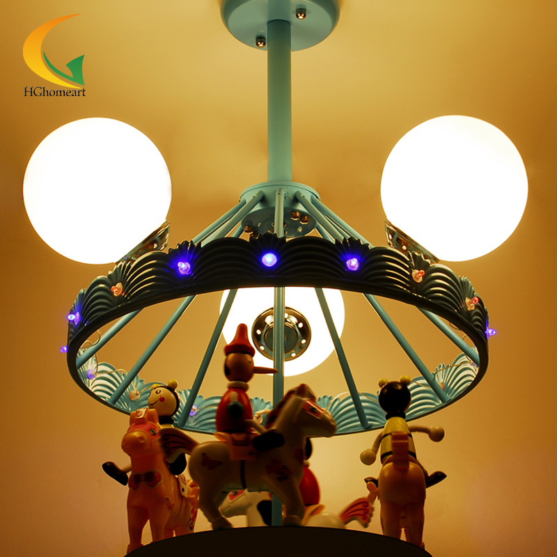 3D Fantasy Carousel Kids Room ceiling lamps bedroom children boys and girls led Pendant Lights hghomeart kids led pendant lights basketball academy lights cartoon children s room bedroom lamps lighting