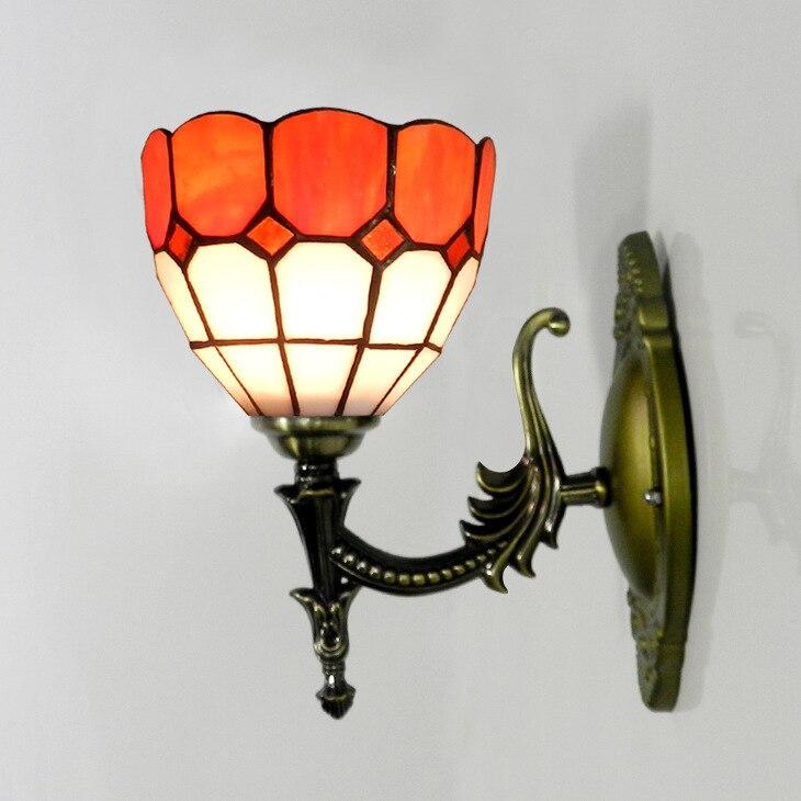 Tiffany Wall Lamp Minimalist Modern Orange Tones Decorated Living Room Restaurant Bedroom Bedside Lamp Hotel Inn Art Light