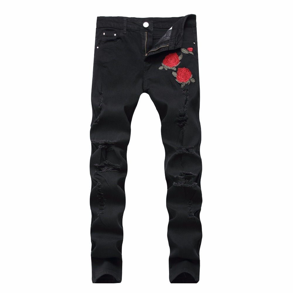 Black Ripped Jeans Men Flowers Rose Embroidered Men's ...