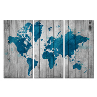 3 Pieces World Map Canvas Wall Art Vintage Teal Blue Map of The World On Grey Wood Background Contemporary Picture For Home Wall