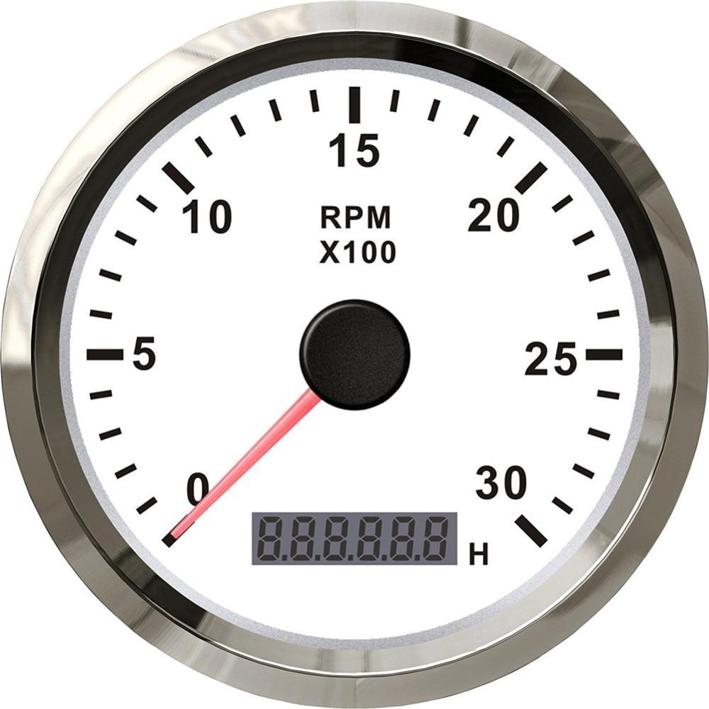 цена 1pc brand new gasoline diesel engine tachometers 3000RPM 85mm revolution meters 12v / 24v fit for auto boat yacht RV