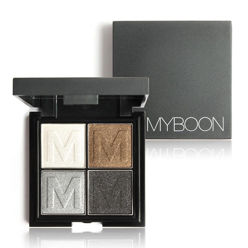 MYBOON Eyeshadow 4 Shade Shadow Palette Glitter Eyeshadow Mineral Texture Silk-infused Shimmer Pearl Glow Eye Makeup