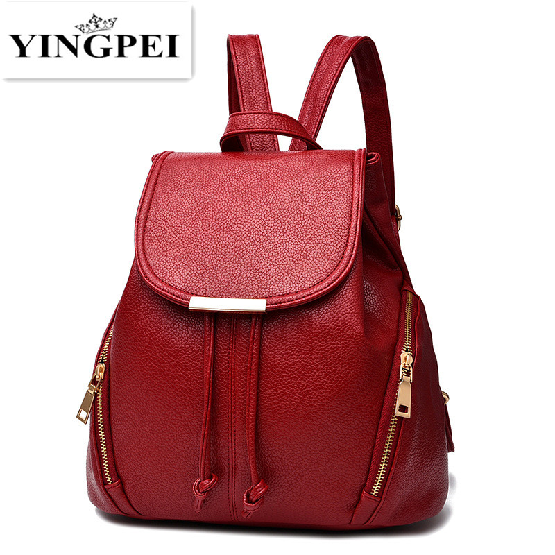 YINGPEI Women Backpack PU Leather Bag Mochila Feminina School Bags for Teenagers Teenagers Laptop Notebook Black White