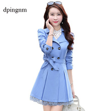 Trench Coat For Women 2019 Fashion Turn-down Collar Double Breasted Contrast Col