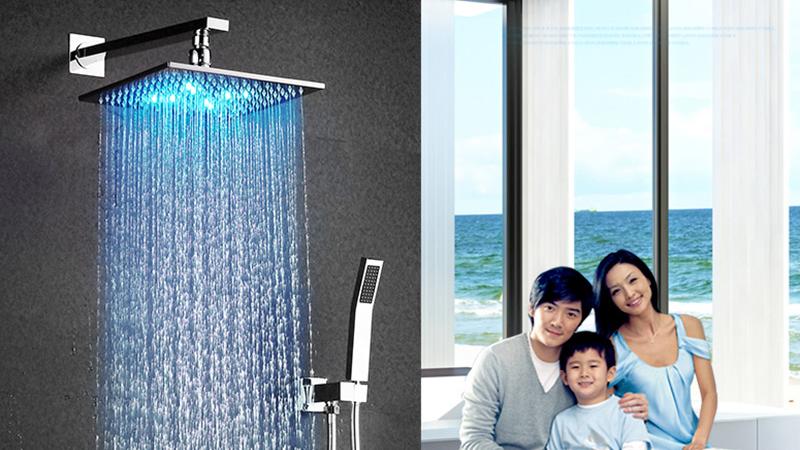 DCAN 10 Rainfall Shower Head System Polished Chrome Bath Wall Mounted Shower Faucet Bathroom Luxury Rain Mixer Shower Combo Set (4)