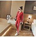 2017 Sportswear spring Tracksuit Women 2 Piece Sets red black suit zipper stitching baseball suit set