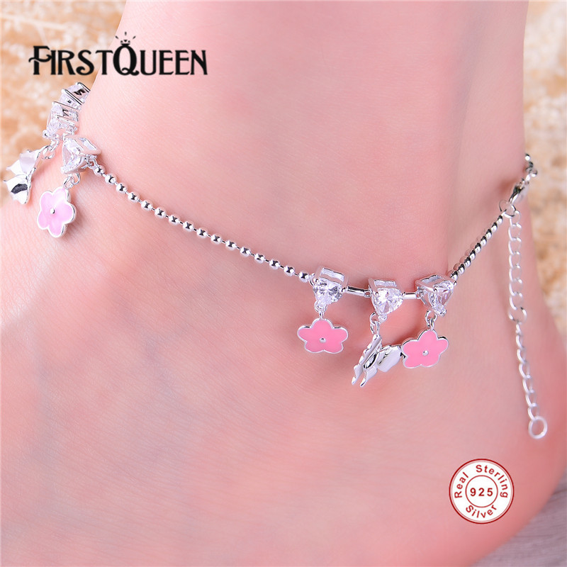 FirstQueen Pure Silver 925 font b Anklet b font Bracelet High Quality AAA Cubic Zirconia Best