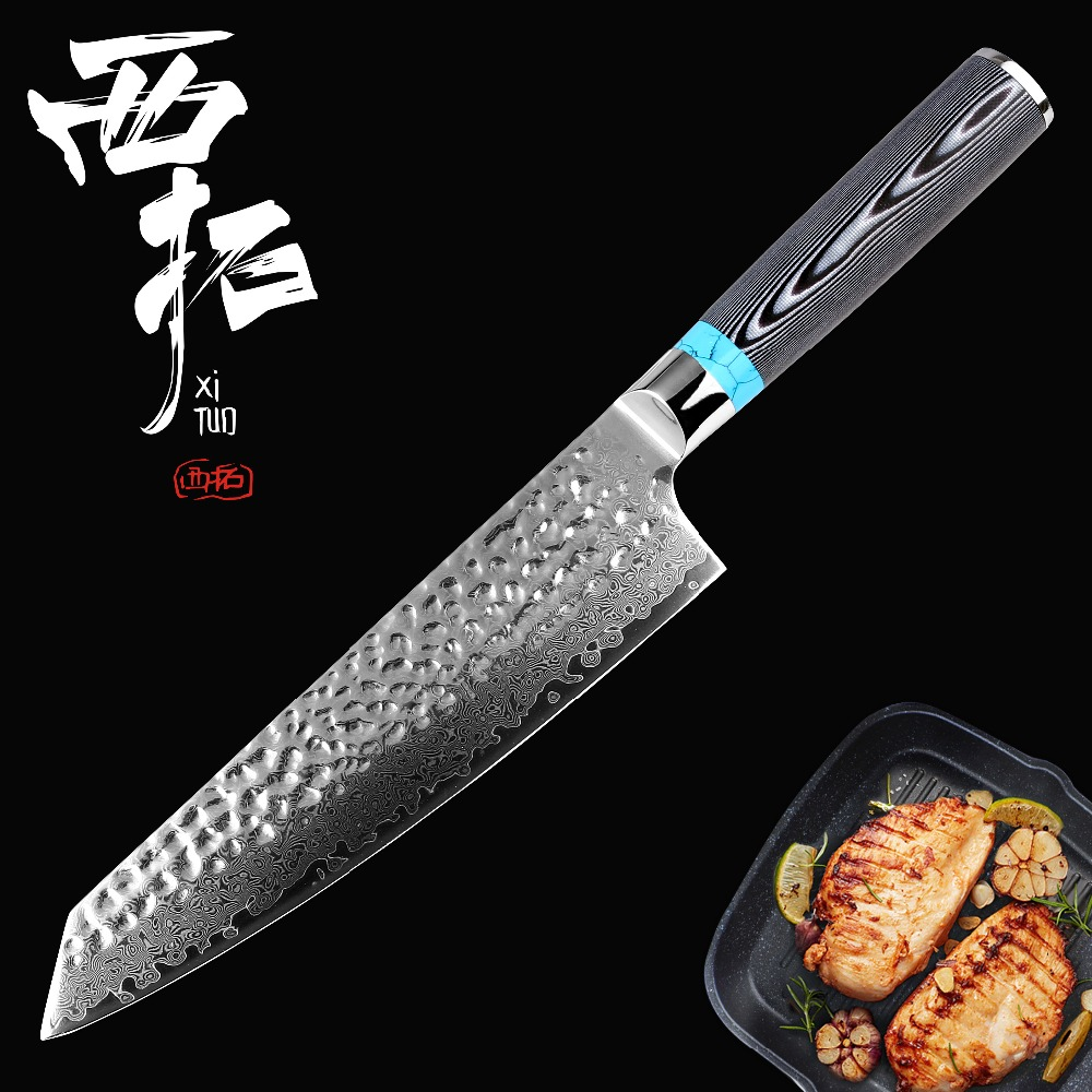 "XITUO Damascus mes 8 ""inch VG10 mes Damascus staal mes 67 layer Fileren Zalm Utility chef Santoku Cleaver vlees mes-in Keukenmessen van Huis & Tuin op  Groep 1"