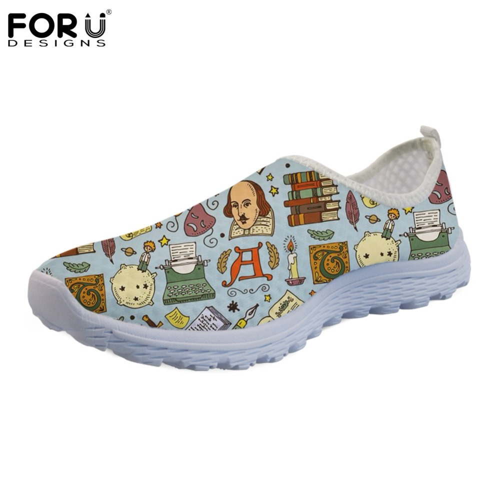 FORUDESIGNS Ladies Shoes Woman Flats Breathable Fashion Summer Print Literature Zapatos