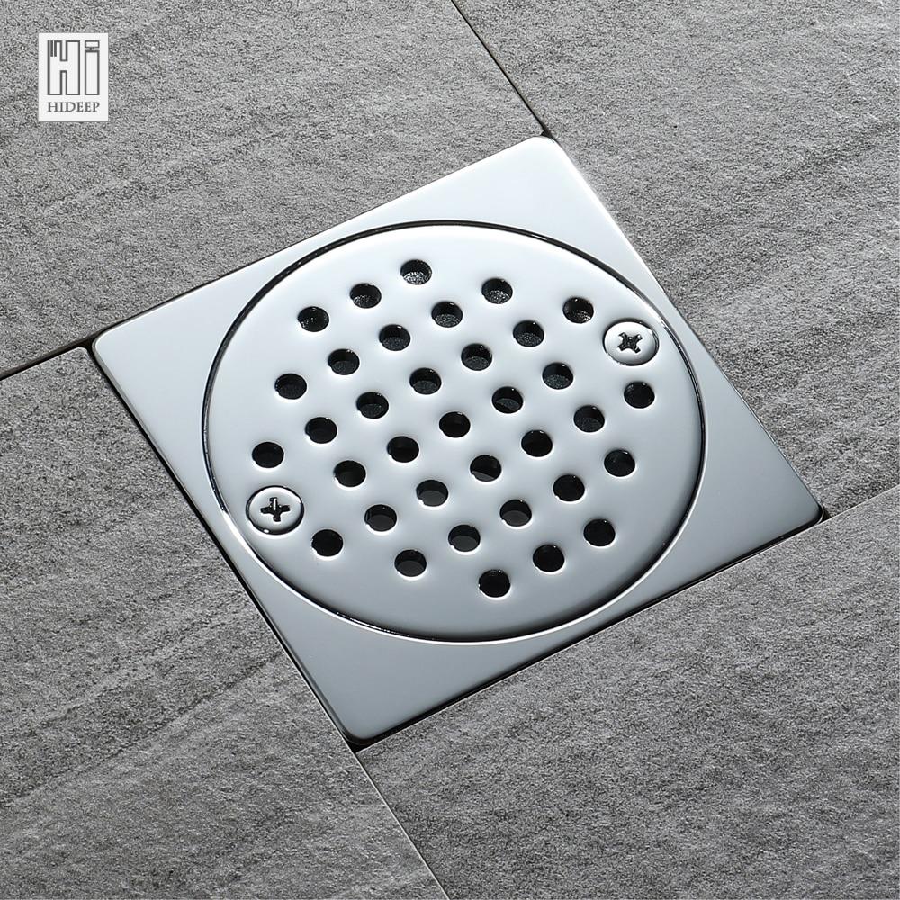 HIDEEP Square Floor Drain Waste Grates Bathroom invisible sliver ...