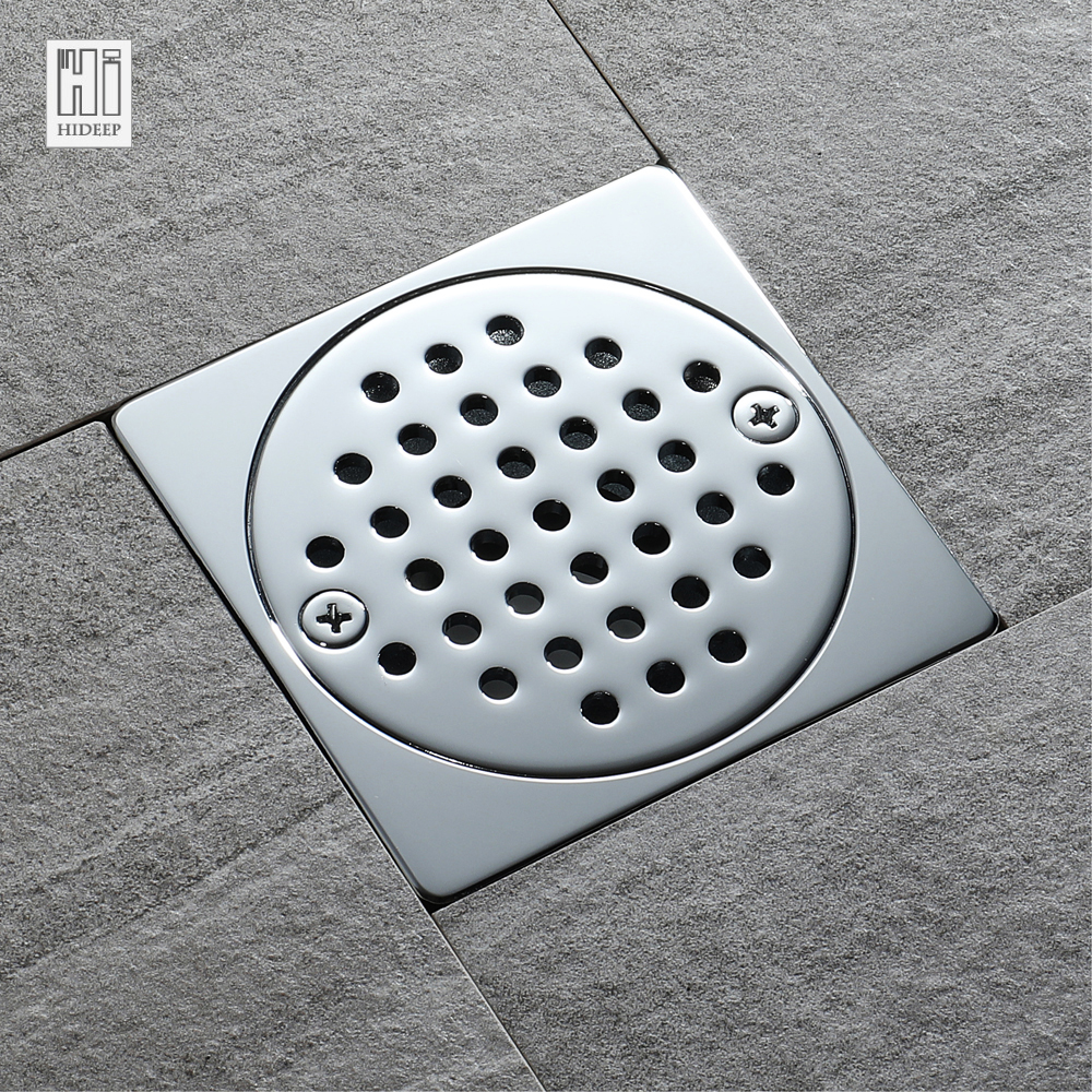 HIDEEP Square Floor Drain Waste Grates Bathroom invisible sliver Shower Drain Chrome Plated Bathroom Kitchen Shower Floor Drains