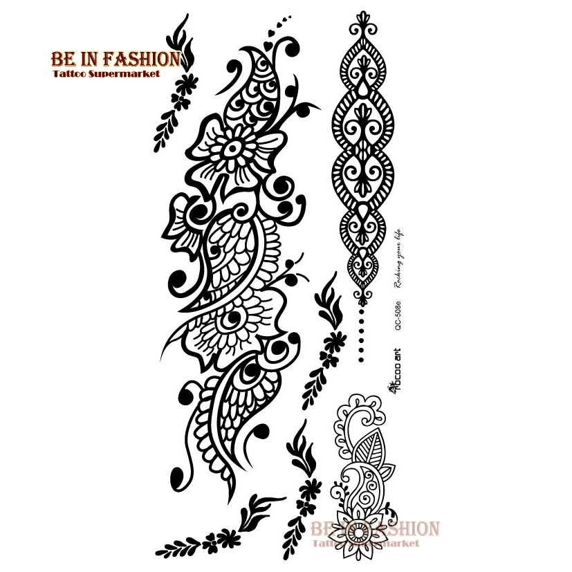 Henna Style Tattoos Lace Tattoo: Flash Tattoo Maquiagem Temporary Tattoo Stickers Arabic