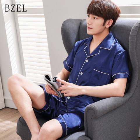 BZEL Pajamas Sets Men Sleepwear Short Sleeve Homewear Turn-down Collar Pyjama Satin Silk Pijama Sleep Lounge Leisure Home Cloth Pakistan