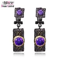 DreamCarnival 1989 Vintage Purple Zircon Earrings For Women Black Gold Color Boucle D Oreille Hip Hop