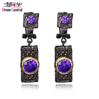 DreamCarnival 1989 Vintage Purple Zircon Earrings For Women Black Gold Color Boucle D Oreille Hip Hop