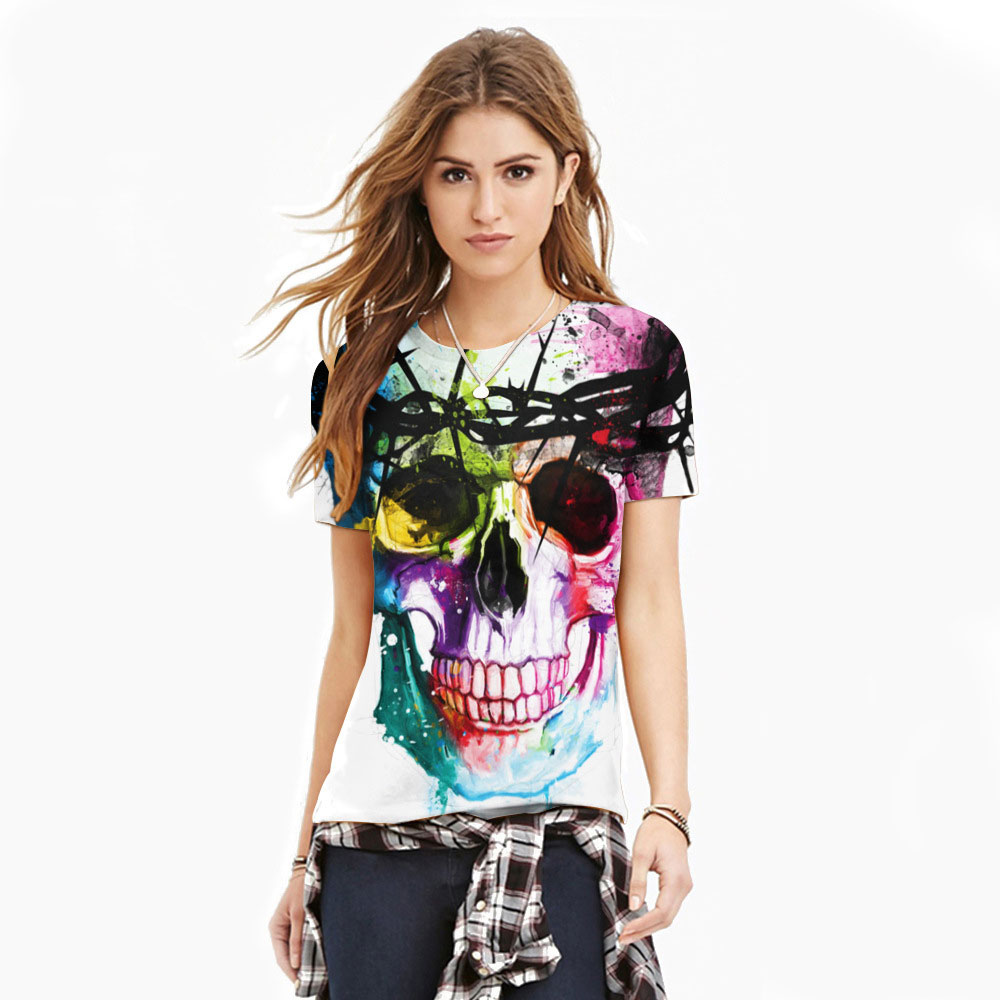 Polyester Spandex Color Graffiti Skull Women's Fitness Mode T-shirt Flickor Träningskompression Tights T-shirt Toppar