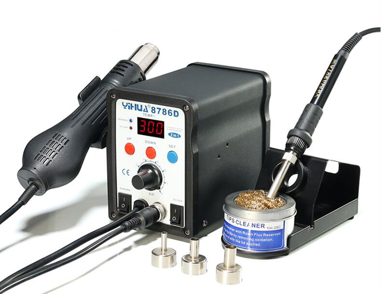 YIHUA 2in1 Soldering Solder Station SMD Rework Iron with Hot Air Gun 8786D atten 2in1 at8502d lead free soldering station smd rework station hot air gun