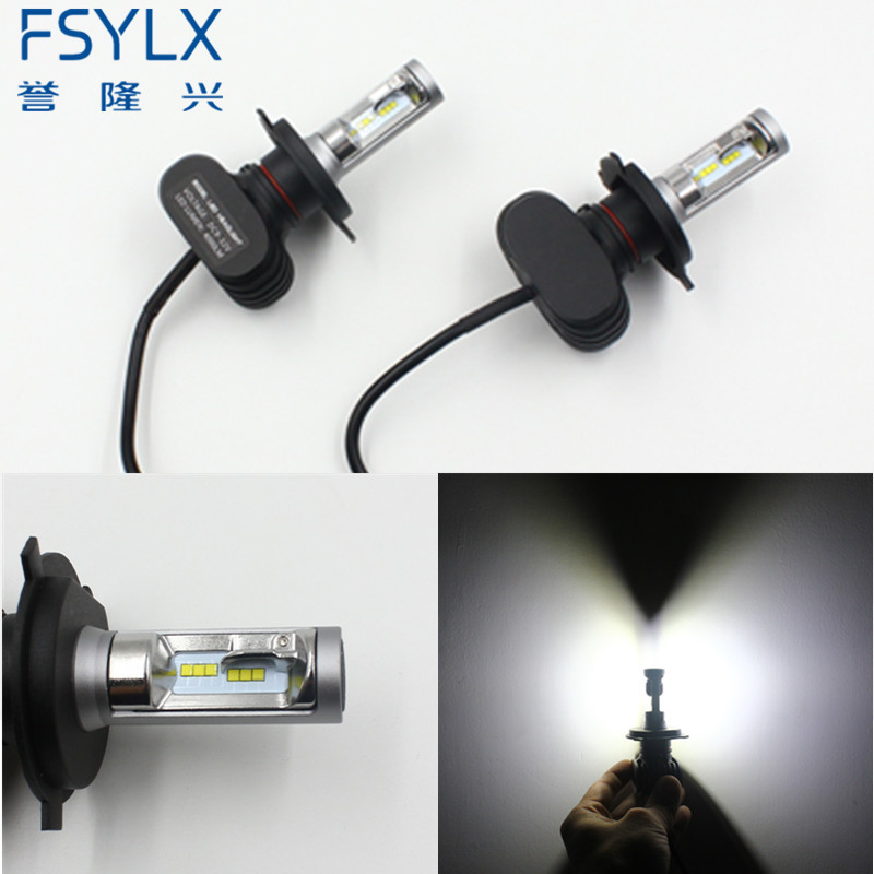 FSYLX Car H4 LED Headlight <font><b>Conversion</b></font> Kit Hi-Lo Beam 50W 8000LM 6500K H13 9004 9007 LED Fog Lamp Bulb for AUDI/TOYOTA/KIA/VW