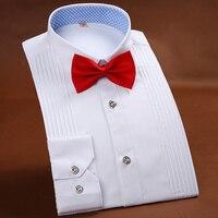 High-end dos homens Camisa Do Smoking Camisas de Cor Sólida Camisa de Manga Longa dos homens da Festa de Casamento Branco Azul Rosa marca Camisa Masculina 38-44