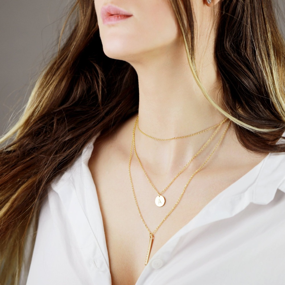 Nom Initial Collier Délicat Simple Superposition Collier Superposition Bijoux Personnalisé collier pour femmes Multi-Couches