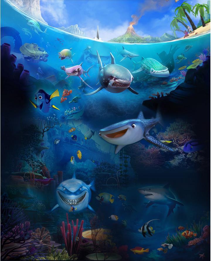 Customized 3d Floor For Living Room Finding Nemo 3d Murals Wallpaper
