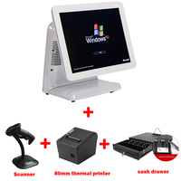Intel 1037U 1.8G 15 all in one touch screen pos terminal sell with 80mm thermal bill printer and cash drawer as well as scanner