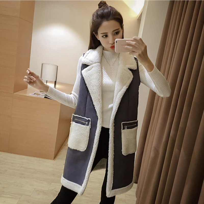 566c6abc968 New Winter Women Sleeveless Vest Waistcoat Casual Turn down Neck Cotton  Vest Jacket Female Faux Suede Long Patchwork Vests Coats-in Vests &  Waistcoats from ...