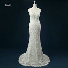 Elegant 2017 Sheath Lace Wedding Dress Scoop Bow Open Back Sweep Train Spaghetti Strap Beading Bridal Gown Sleeveless Customize