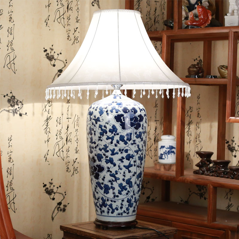 New Chinese Living Room Ceramic Table Lamp Hand Made Blue