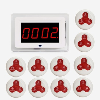 433 mhz Draadloze Kelner Oproepsysteem Pager Systeem Ontvanger Host Voice Broadcast + 10 stks Call Zender Knop Restaurant F3259B