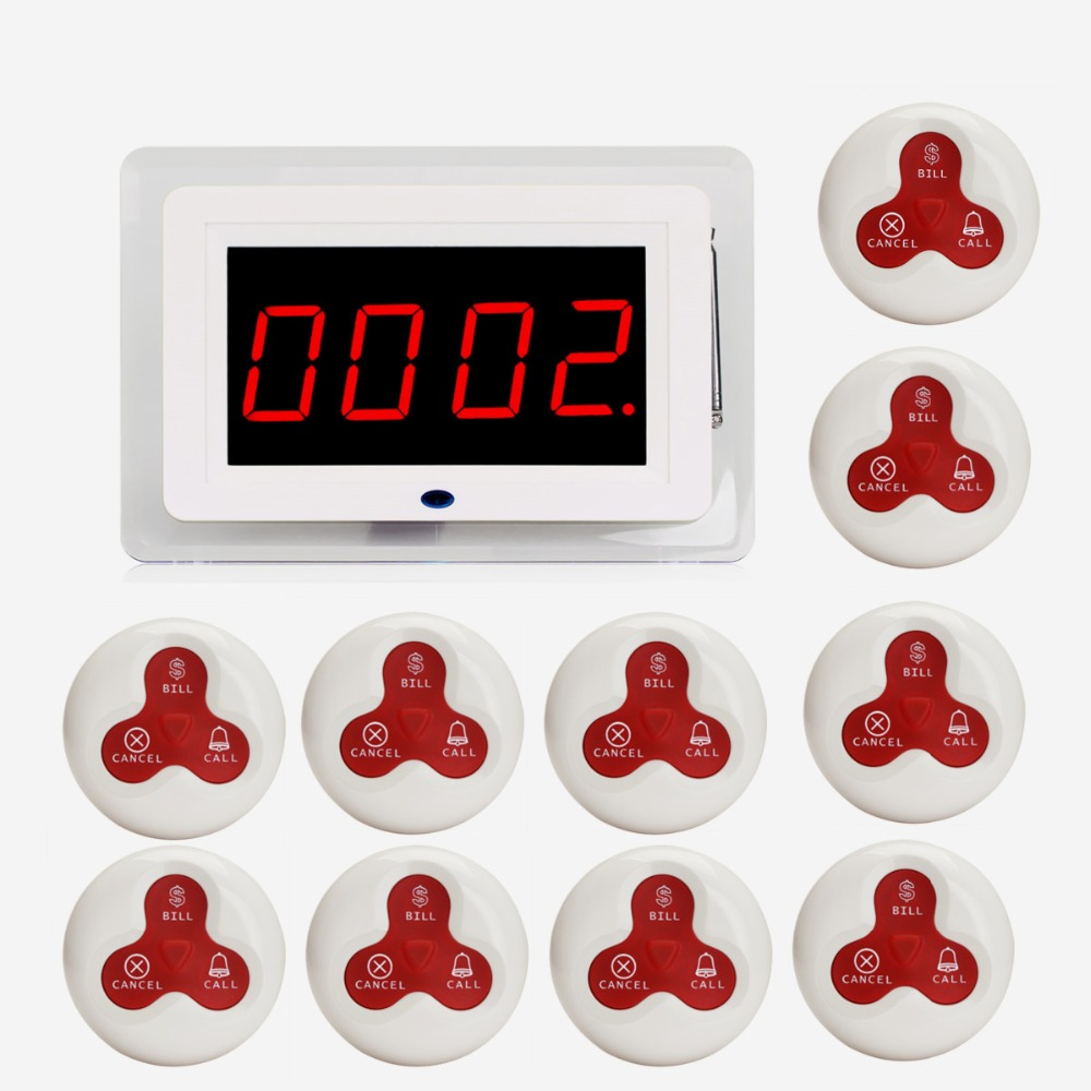 433MHz Wireless Waiter Nurse Calling Pager System Receiver Host Voice Broadcast+10pcs Call Transmitter Button Restaurant F3259B resstaurant wireless waiter service table call button pager system with ce passed 1 display 1 watch 8 call button