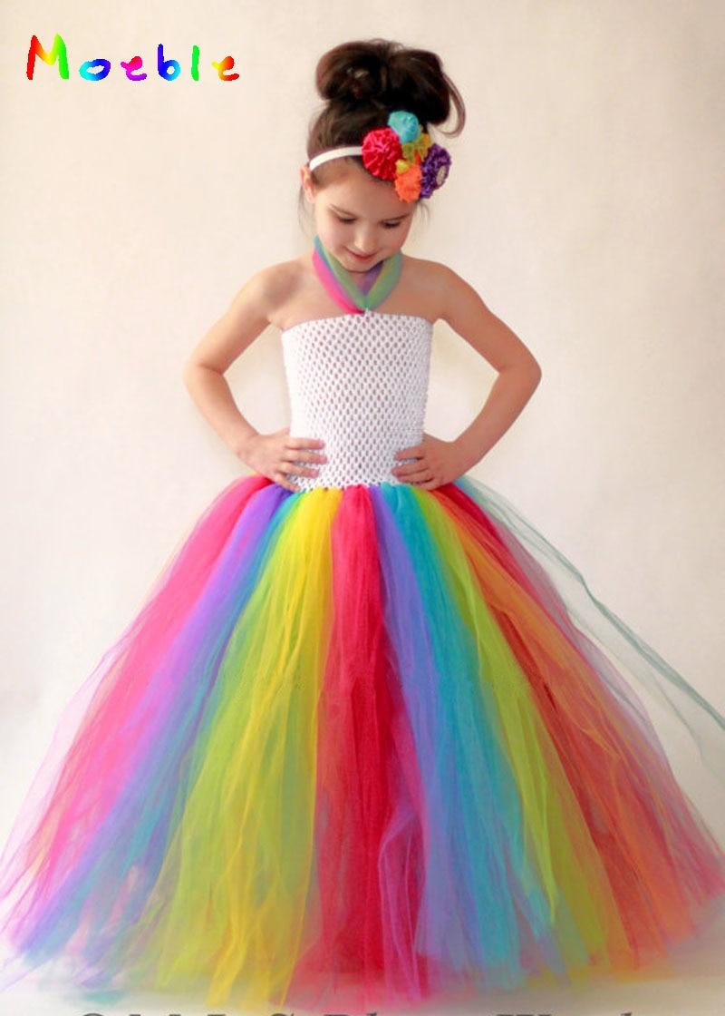 Brief Baby Girls Rainbow Tutu Dress For Birthday Wedding