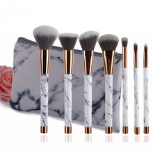 7pcs/Set Makeup Brushes with Bag Marble Handle Eye Shadow Foundation Powder Make Up Brushes Face Cosmetic Beauty Pens Tools 7pcs makeup brushes set with striped bag