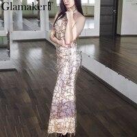 Glamaker סקסי גבוה צוואר ללא שרוולים שמלת קיץ 2016 נצנצים אופנה נשים חדש שמלה אלגנטי המפלגה ארוכה שמלת vestidos דה פיאסטה