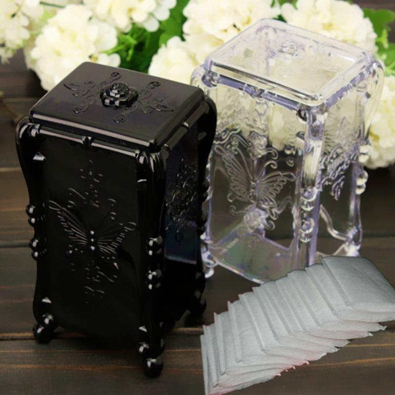 Clear/Black Acrylic 14x7x6cm Makeup Cotton Pad Cosmetic Organizer Jewelry Case Storage Box Holder