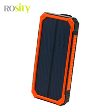 ROSITY new 20000 mah solar power bank bateria externa solar charger powerbank for all mobile phone for pad free shipping