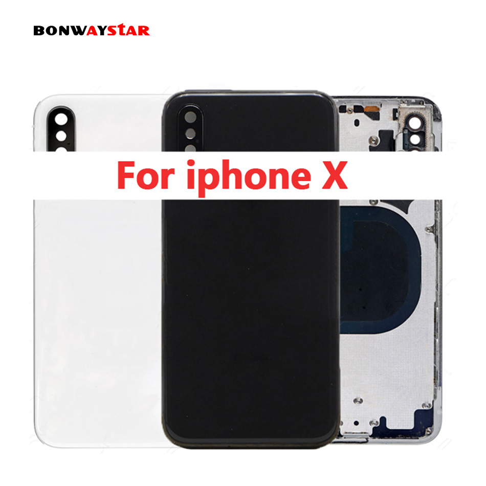 High Quality For iPhone X housing Back glass Body Back Rear Housing Battery Cover Case Chassis coque Traser apart Frame for 8High Quality For iPhone X housing Back glass Body Back Rear Housing Battery Cover Case Chassis coque Traser apart Frame for 8