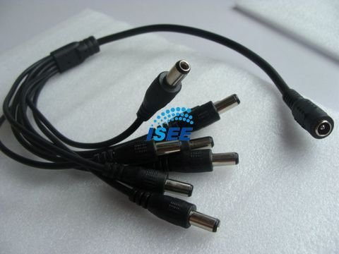 Free Shipping China Post 20 Pieces/lot CCTV Camera DC Female 1 to 8 Male Power Splitter Cable
