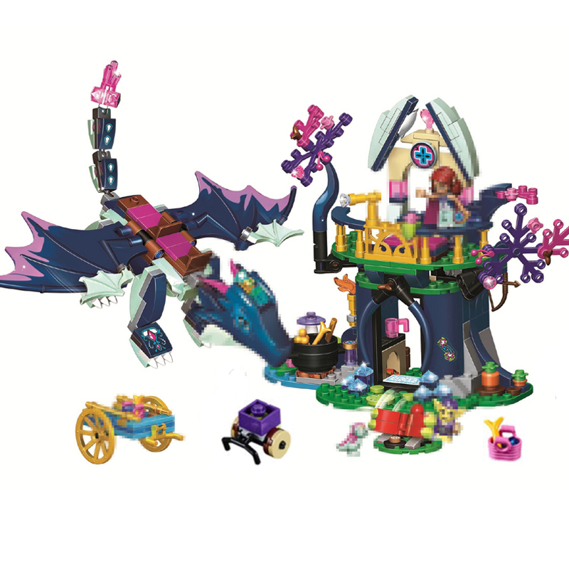 10697 Fairy Elves Dragon Rosalyn Healing Hideout Building Blocks Toys Compatible LegoINGly Friends 41187 Birthday Gift For Girl 2018 new girl friends fairy elves dragon building blocks kit brick toys compatible legoes kid gift fairy elves girls birthday
